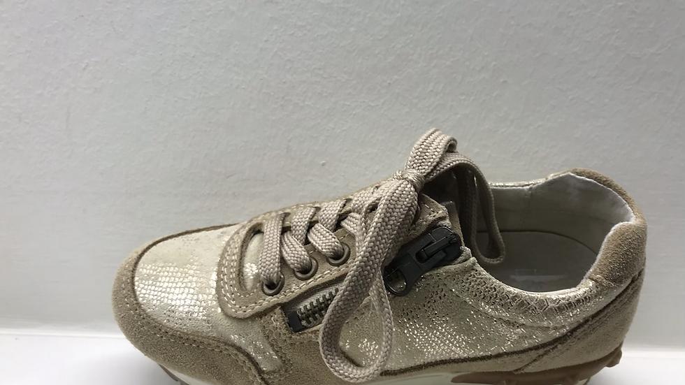 Beige lage sneaker veters en rits met glinstertjes