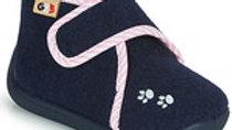 Donkerblauwe pantoffel met velcro en roze boordje