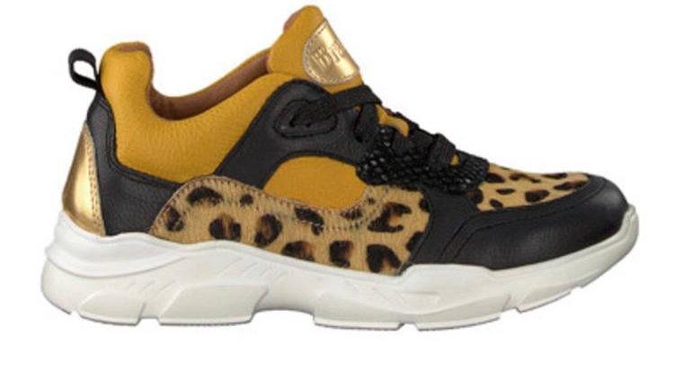 vetersneaker met luipaardaccenten