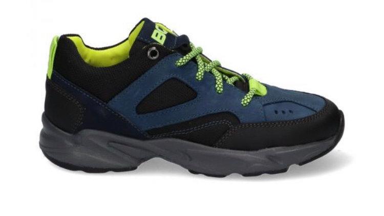 Zwarte vetersneaker met blauw en fluogele accenten