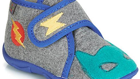 Grijs pantoffeltje velcro met blauwe boord
