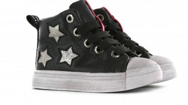 Hoge zwarte sneaker met zilverkleurige sterren