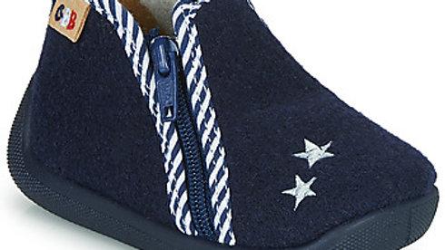 Donkerblauwe pantoffel rits met blauw-witte boord