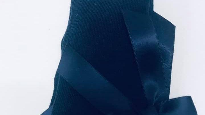 Donkerblauwe kniekousjes met strikje