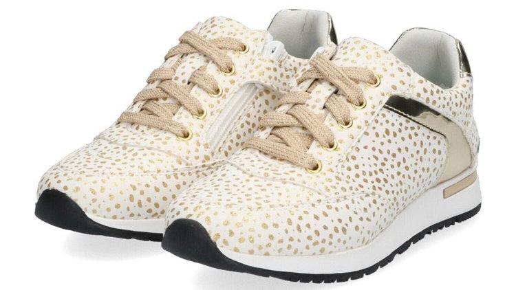 Sneakers met goudkleurige stipjes, veters en rits