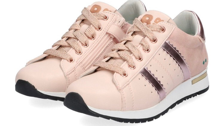 Roze vetersneakers met glinsterstreepjes en rits