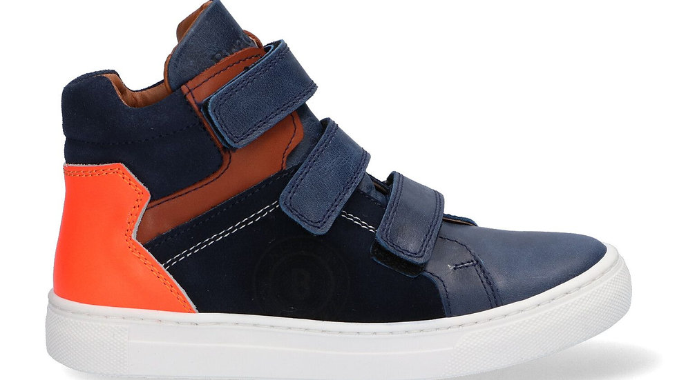 Hoog model donkerblauw velcro met fluo-oranje