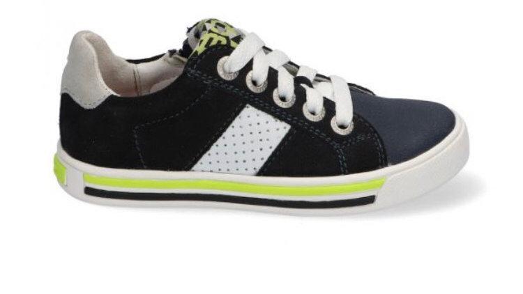 Lage donkerblauwe sneakers met veters en rits met ingewerkte beschermtop