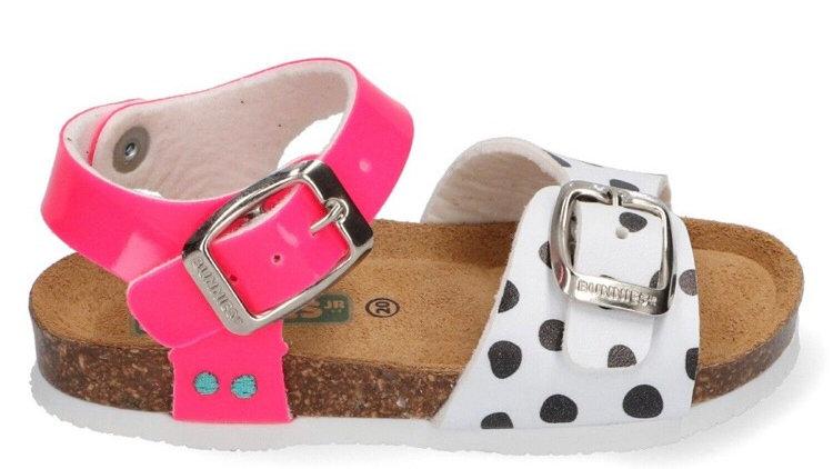 Fluoroze sandaaltjes met wit en zwarte stipjes, met gesp