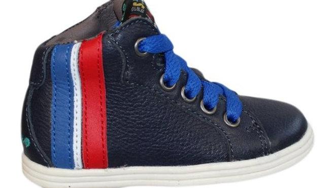 Hoog donkerblauw vetermodelletje met witte,hoogblauwe en rode streep