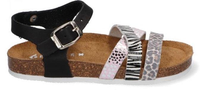 zwarte sandaal met gesp en paarse tinten