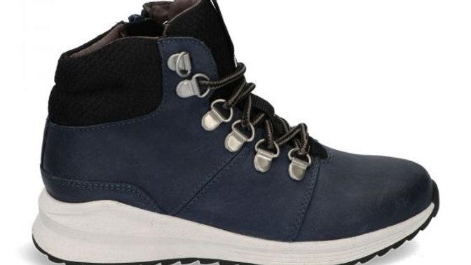 Hoge donkerblauwe sneaker met veters en rits