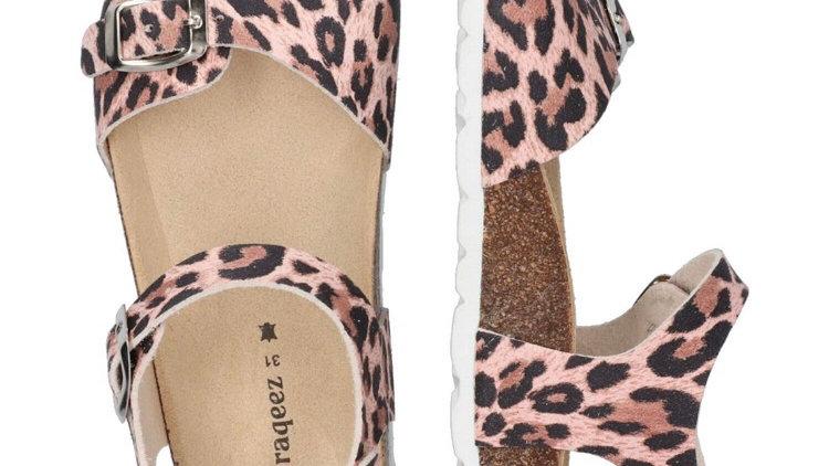 Roze luipaardsandaal met gespjes