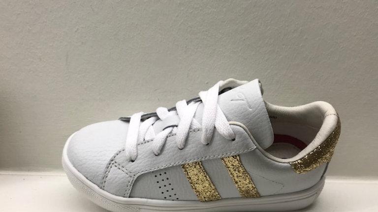 Witte vetersneakers met rits goudkleurige glinsterstrepen en glinsterhieltje
