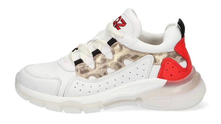 Witte sneakers pantermotief en gekleurde hiel, dikkere zool