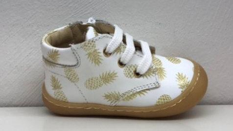 """Witte vetersneakers met rits en beschermtop, dessin """"ananas"""""""