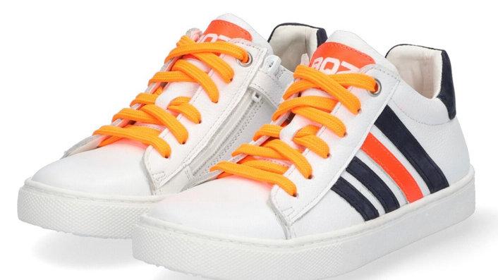 Witte sneaker met donkerblauw en fluo-oranje, veters en rits