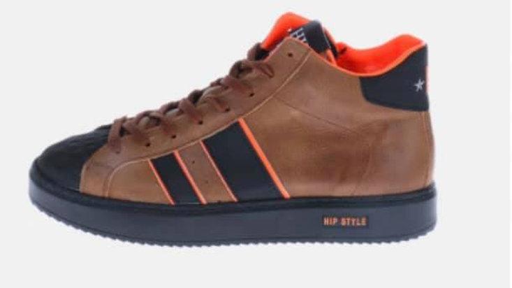 Hoge cognackleurige sneaker met fluo-oranje