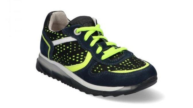 Donkerblauwe sneakers met fluogeel veters en rits