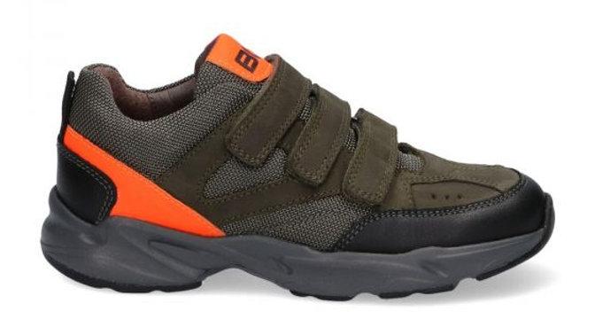 Halfhoge kakikleurige velcroschoen met fluo-oranje