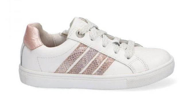 witte vetersneaker met lichtroze glitterstrepen en rits