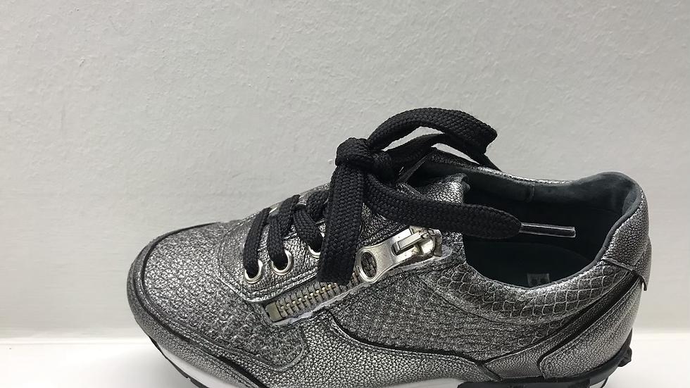 Zilverkleurige lage sneaker veters en rits