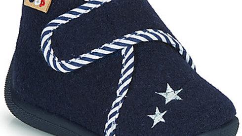 Donkerblauwe pantoffel velcro met blauw-witte boord