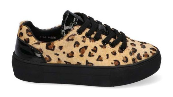 Lage veterschoen Leopard veters en rits met zwart lak