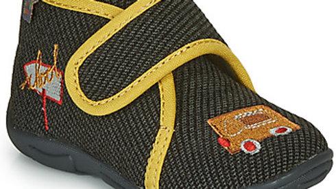Pantoffels velcro kaki met gele boord
