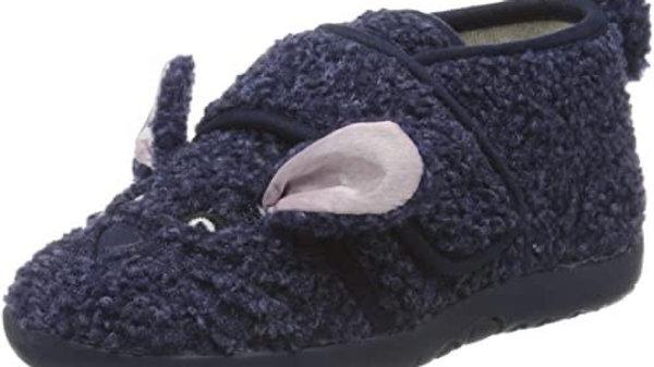 Donkerblauwe konijntjes pantoffels met lichtroze oortjes en velcro