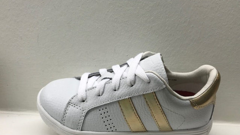 Witte vetersneaker met rits met goudkleurige strepen en goudkleurig hieltje