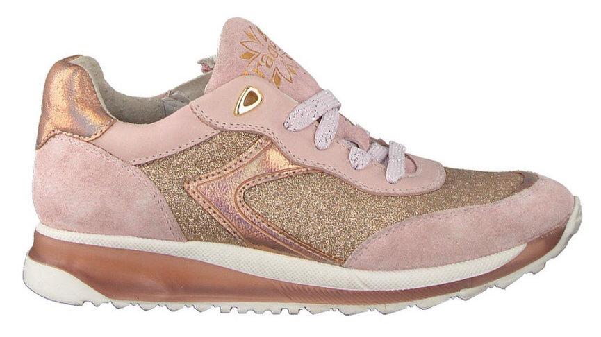 Roze glinsterende sneaker veters en rits / dikkere zool
