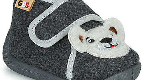 Antracietkleurige pantoffel velcro met wit beertje