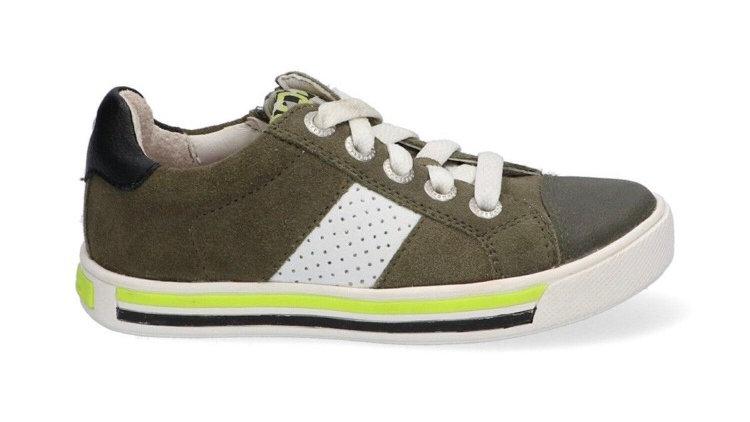 Lage legerkleurige sneakers met veters en rits en ingewerkte beschermtop