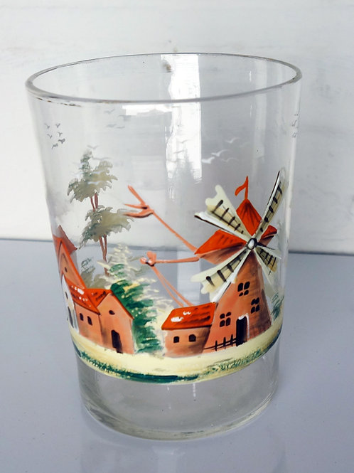 Lightweight Glass Vase with Dutch Scene