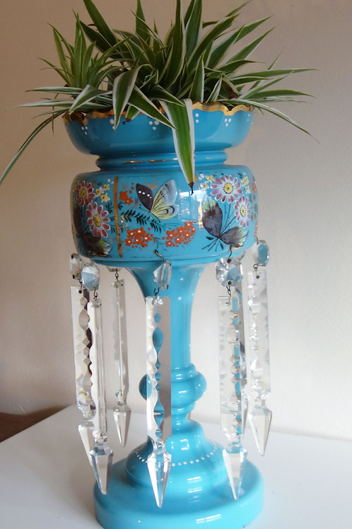 Victorian Blue Glass Mantle Lustre Vase