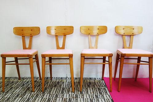 Mid Century Beech Kitchen Chairs x4