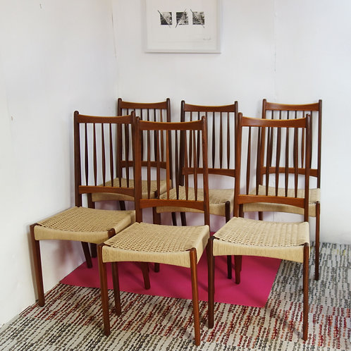 Teak And Paper Cord Chairs By Arne Hovmand Olsen For Mogens Kold 1960s Set Of 6