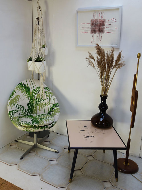 Bucket Chair upholstered in Palm House by Sanderson Fabrics