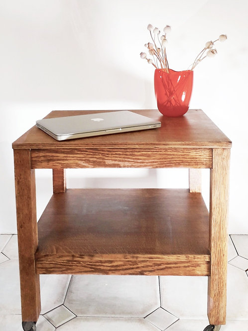 Oak Side Table on Castors