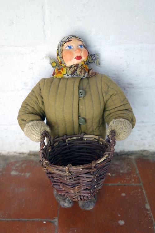 Vintage folk art Russian doll