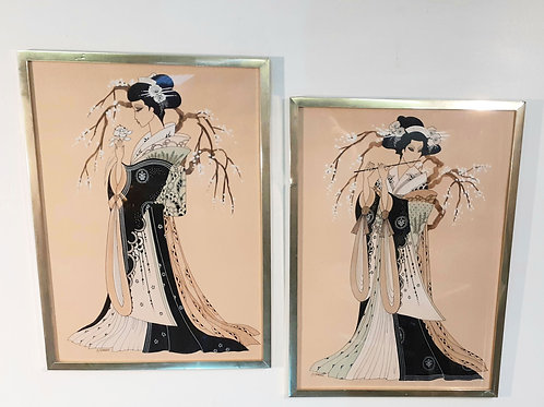 Original Art Deco style drawings of Japanese Geisha girls