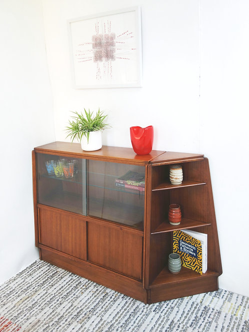 Mid Century, G Plan solid teak shelving and corner unit