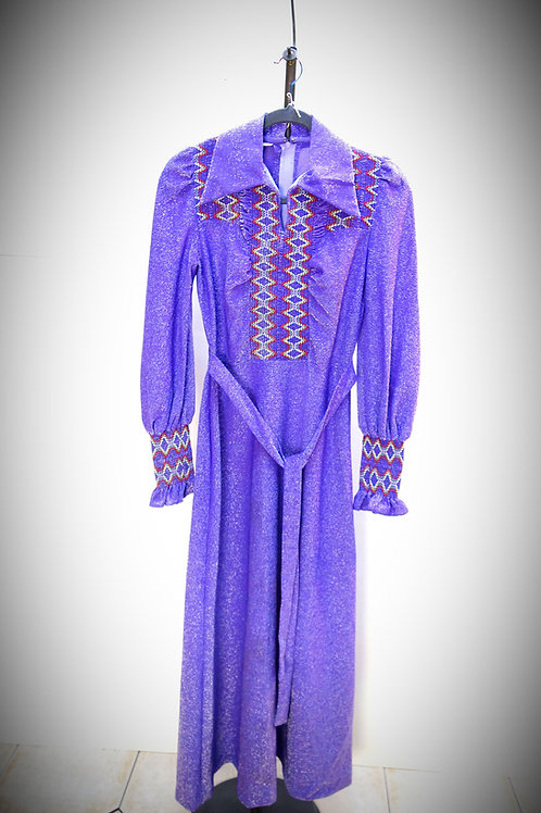 Vintage Purple Smocked Dress 60/70s