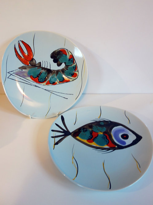 French Vintage Hand Painted Plates