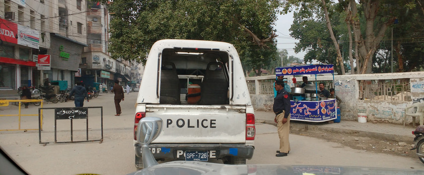 Sukkur. Police escort