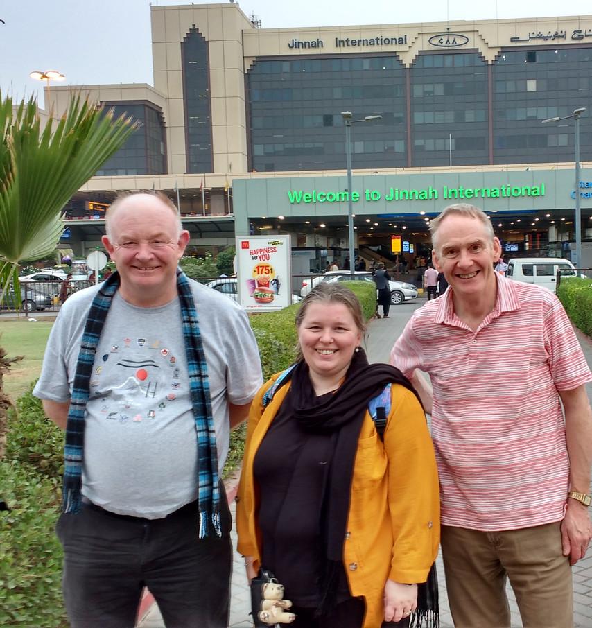 With Deacon Jim Hamilton, Maryhill and Mrs Karen Wallace. Arrival at Karachi