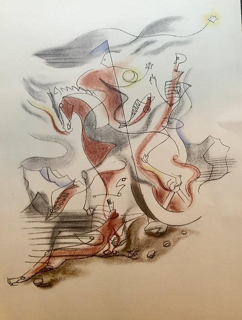 André MASSON (1896-1987) cavalier, 1933, Lithographie en couleurs sur vélin , édition Jeanne Bucher