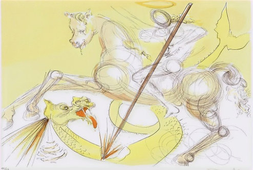 Salvador Dali Saint Georges terrassant le dragon 1974 pointe sèche, eau-forte en couleurs , signée, chez agnes thiebault,