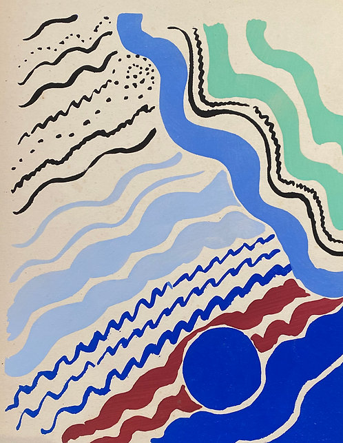 Sonia DELAUNAY1885-1979 Compositon bleu marron... 1930, pochoir,  chez agnes thiebault, paris